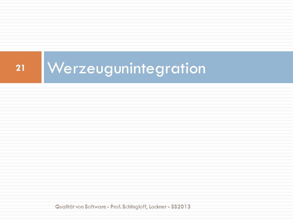 Werzeugunintegration 21 Qualität von Software - Prof. Schlingloff, Lackner - SS2013