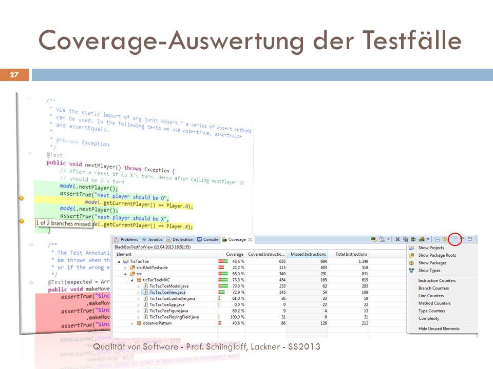 Coverage-Auswertung der Testfälle 27 Qualität von Software - Prof. Schlingloff, Lackner - SS2013