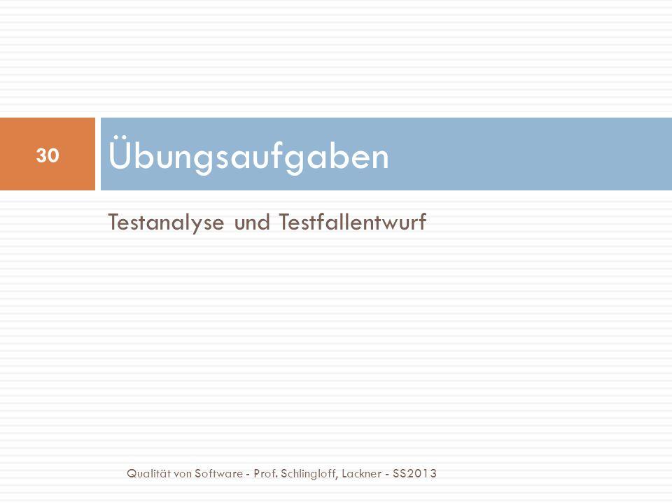 Testanalyse und Testfallentwurf Übungsaufgaben 30 Qualität von Software - Prof. Schlingloff, Lackner - SS2013