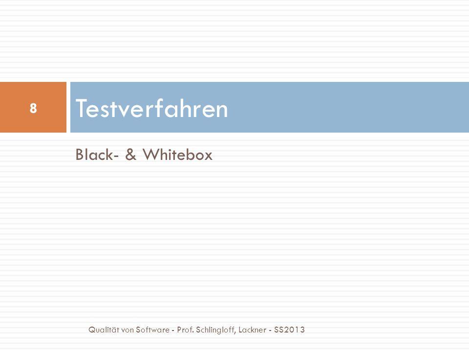 Black- & Whitebox Testverfahren 8 Qualität von Software - Prof. Schlingloff, Lackner - SS2013
