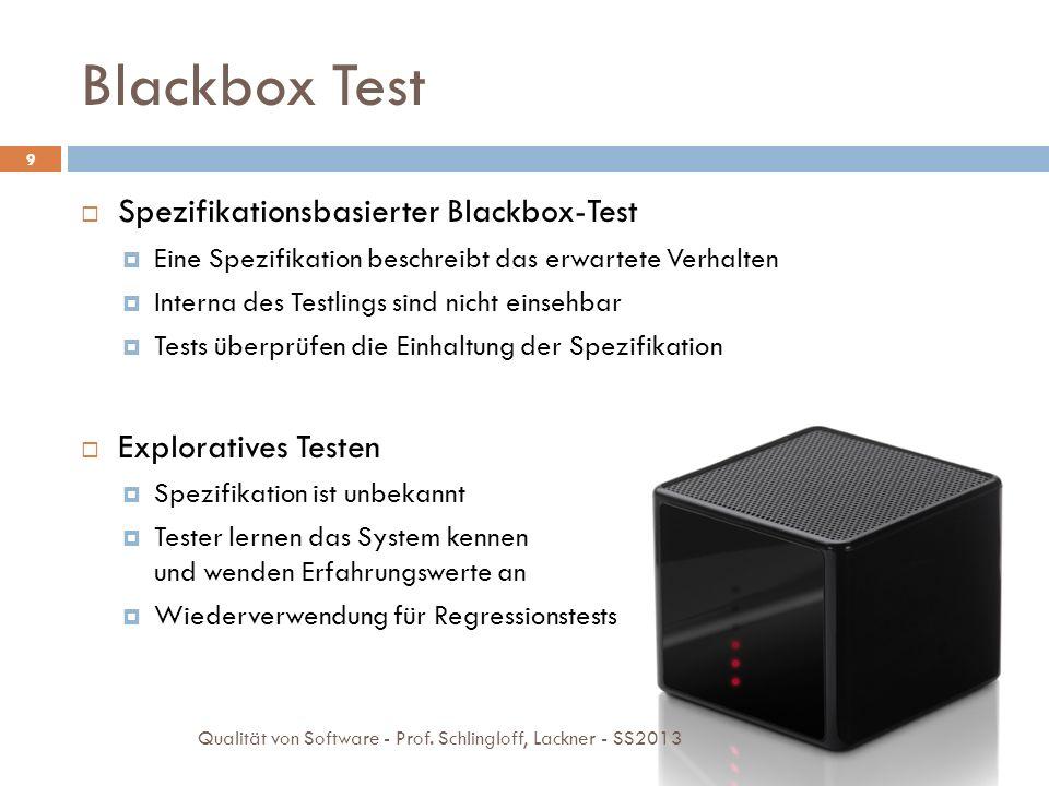 Blackbox Test Spezifikationsbasierter Blackbox-Test Eine Spezifikation beschreibt das erwartete Verhalten Interna des Testlings sind nicht einsehbar T