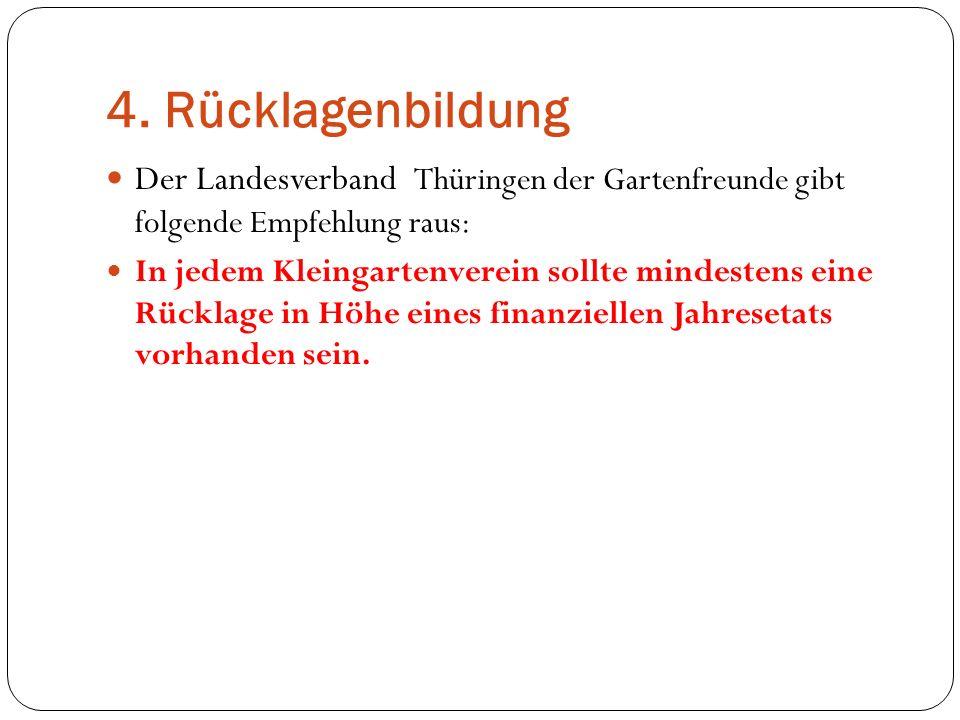 4. Rücklagenbildung Der Landesverband Thüringen der Gartenfreunde gibt folgende Empfehlung raus: In jedem Kleingartenverein sollte mindestens eine Rüc