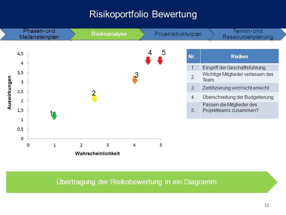 Risikoportfolio Bewertung Phasen- und Meilensteinplan RisikoanalyseProjektstrukturplan Termin- und Ressourcenplanung Nr.Risiken 1.Eingriff der Geschäf