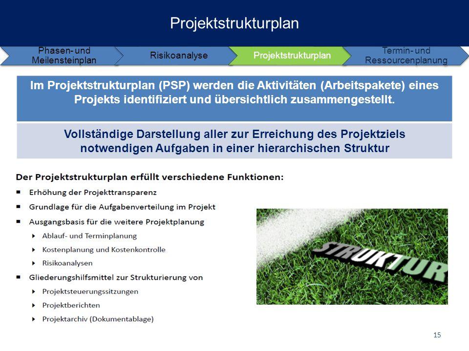 Projektstrukturplan Phasen- und Meilensteinplan RisikoanalyseProjektstrukturplan Termin- und Ressourcenplanung Im Projektstrukturplan (PSP) werden die