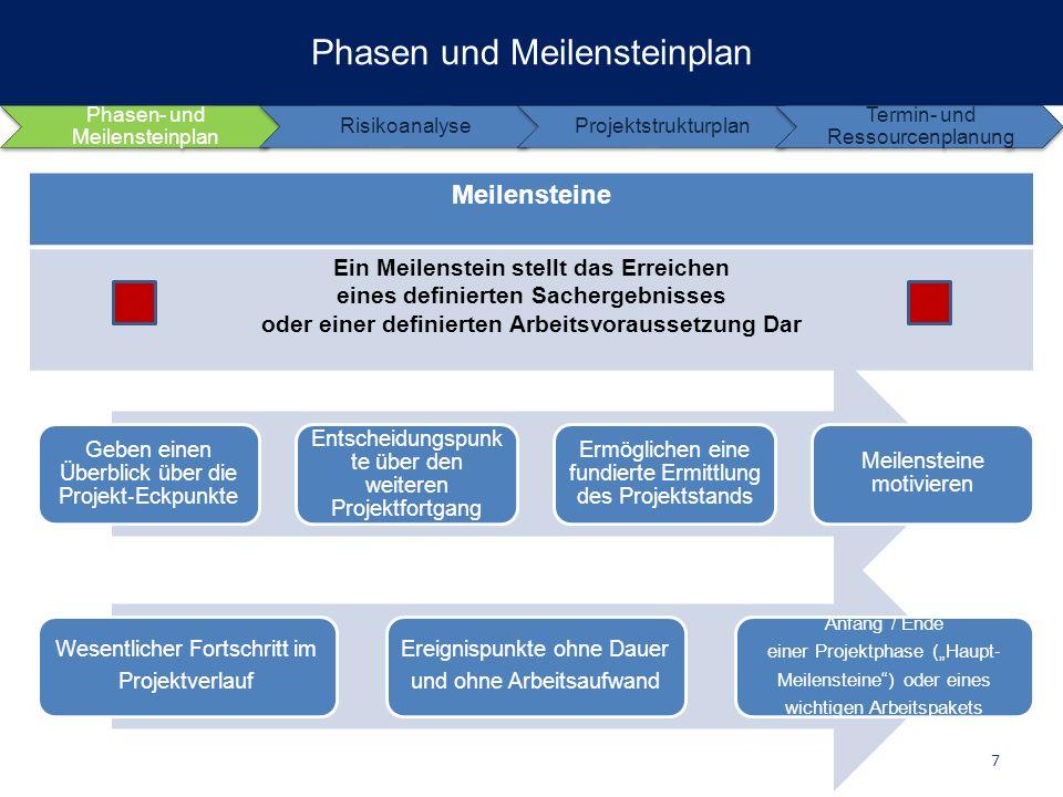 Phasen- und Meilensteinplan RisikoanalyseProjektstrukturplan Termin- und Ressourcenplanung Phasen und Meilensteinplan 8