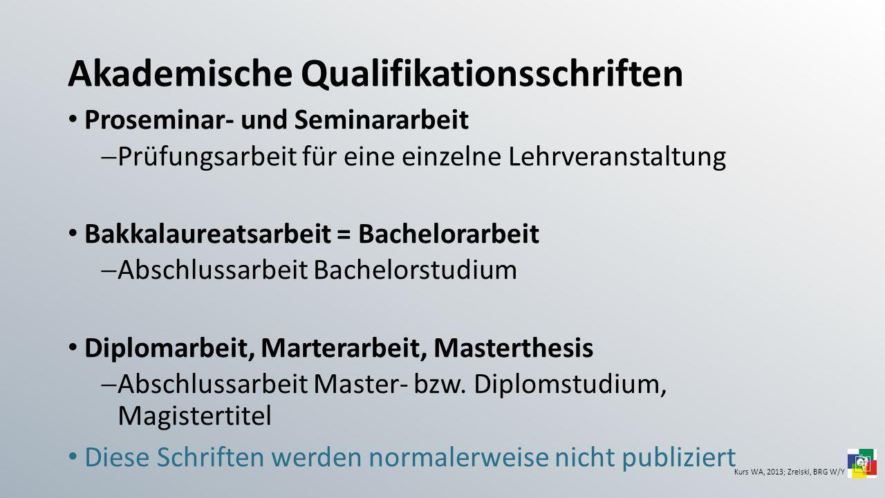 Akademische Qualifikationsschriften Proseminar- und Seminararbeit Prüfungsarbeit für eine einzelne Lehrveranstaltung Bakkalaureatsarbeit = Bachelorarb