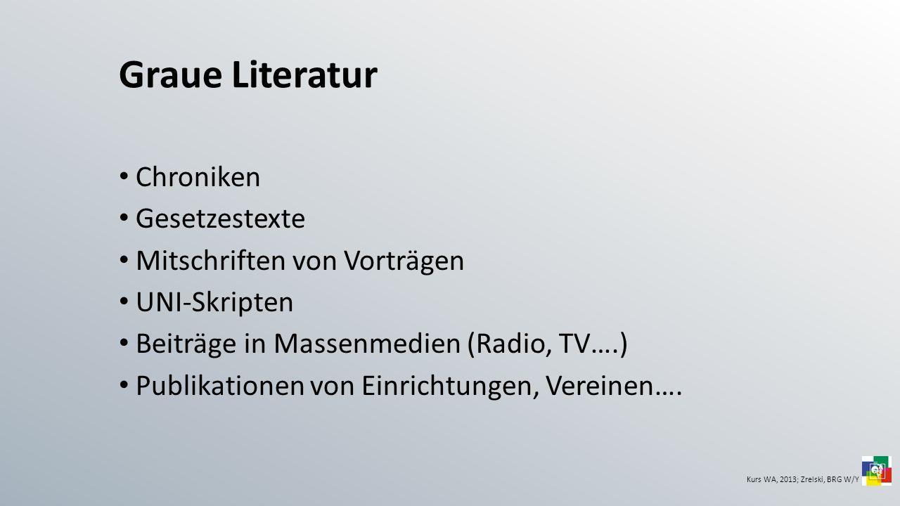 Graue Literatur Chroniken Gesetzestexte Mitschriften von Vorträgen UNI-Skripten Beiträge in Massenmedien (Radio, TV….) Publikationen von Einrichtungen