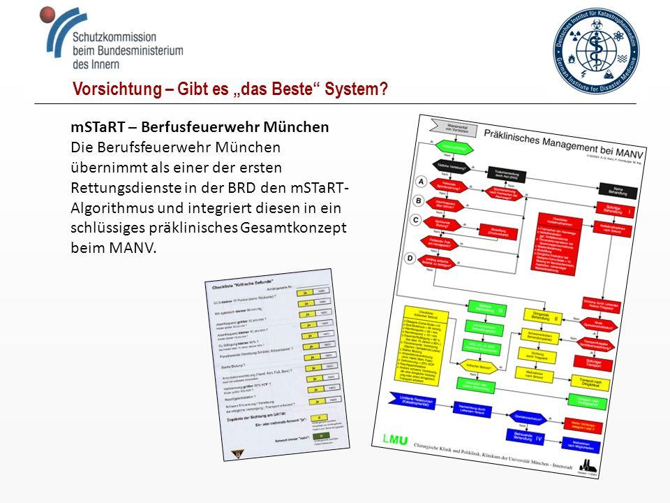 mSTaRT – Berfusfeuerwehr München Die Berufsfeuerwehr München übernimmt als einer der ersten Rettungsdienste in der BRD den mSTaRT- Algorithmus und int