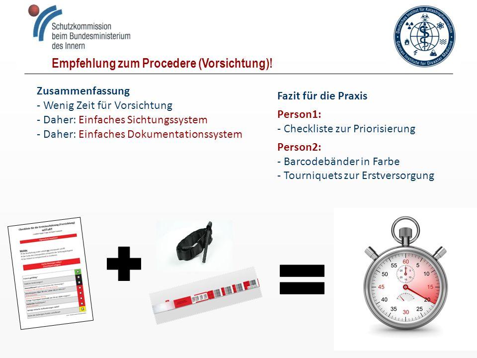 Zusammenfassung - Wenig Zeit für Vorsichtung - Daher: Einfaches Sichtungssystem - Daher: Einfaches Dokumentationssystem Empfehlung zum Procedere (Vors