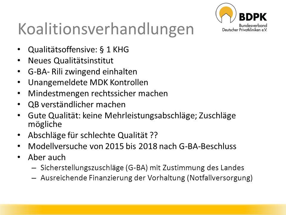Qualitätsoffensive: § 1 KHG Neues Qualitätsinstitut G-BA- Rili zwingend einhalten Unangemeldete MDK Kontrollen Mindestmengen rechtssicher machen QB verständlicher machen Gute Qualität: keine Mehrleistungsabschläge; Zuschläge mögliche Abschläge für schlechte Qualität .