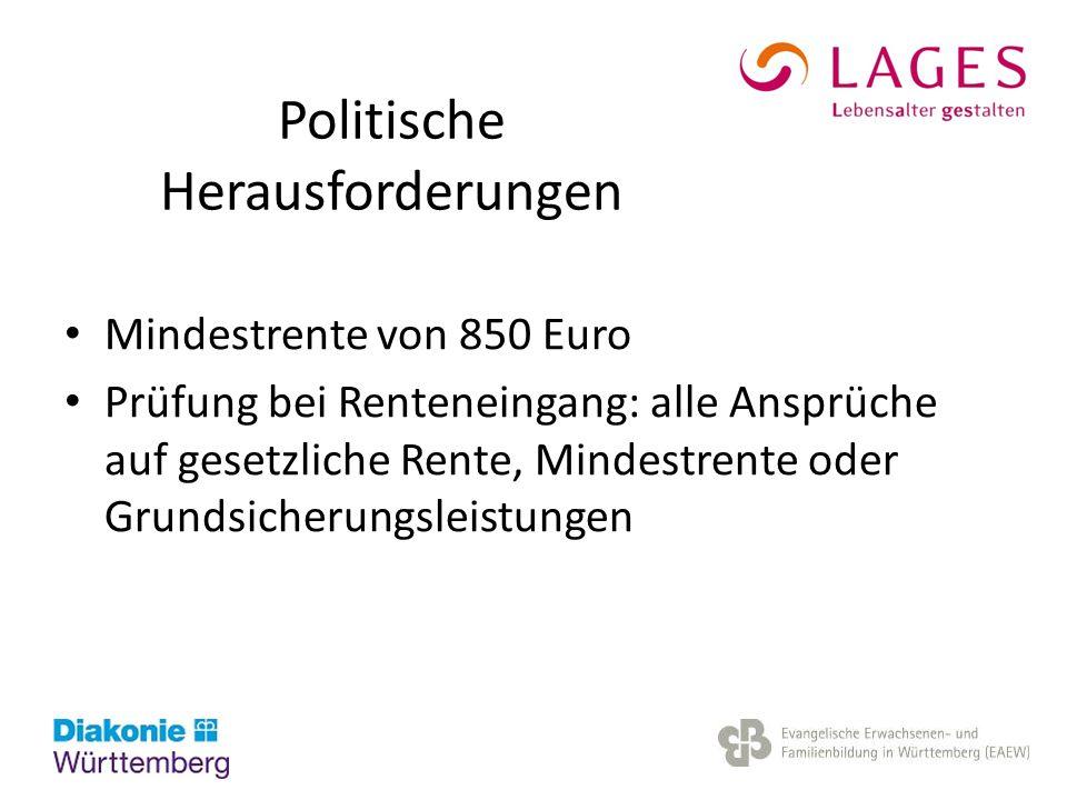 Politische Herausforderungen Mindestrente von 850 Euro Prüfung bei Renteneingang: alle Ansprüche auf gesetzliche Rente, Mindestrente oder Grundsicheru