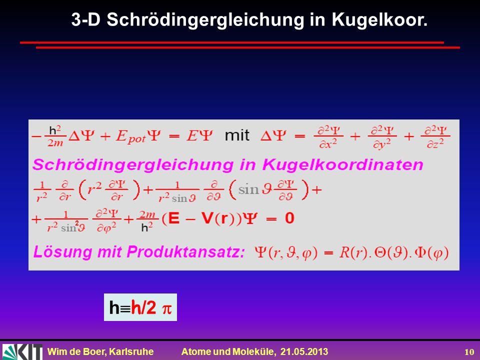 Wim de Boer, Karlsruhe Atome und Moleküle, 21.05.2013 10 3-D Schrödingergleichung in Kugelkoor. h h /2 2