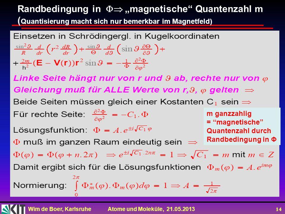 Wim de Boer, Karlsruhe Atome und Moleküle, 21.05.2013 14 Randbedingung in magnetische Quantenzahl m ( Quantisierung macht sich nur bemerkbar im Magnet