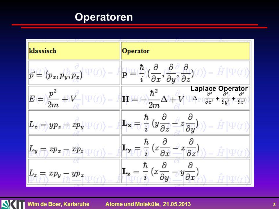 Wim de Boer, Karlsruhe Atome und Moleküle, 21.05.2013 2 Operatoren Laplace Operator