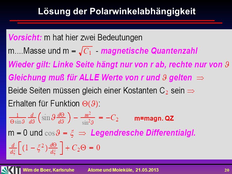 Wim de Boer, Karlsruhe Atome und Moleküle, 21.05.2013 20 m=magn. QZ Lösung der Polarwinkelabhängigkeit