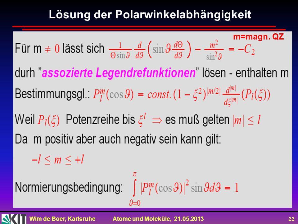 Wim de Boer, Karlsruhe Atome und Moleküle, 21.05.2013 22 m=magn. QZ Lösung der Polarwinkelabhängigkeit
