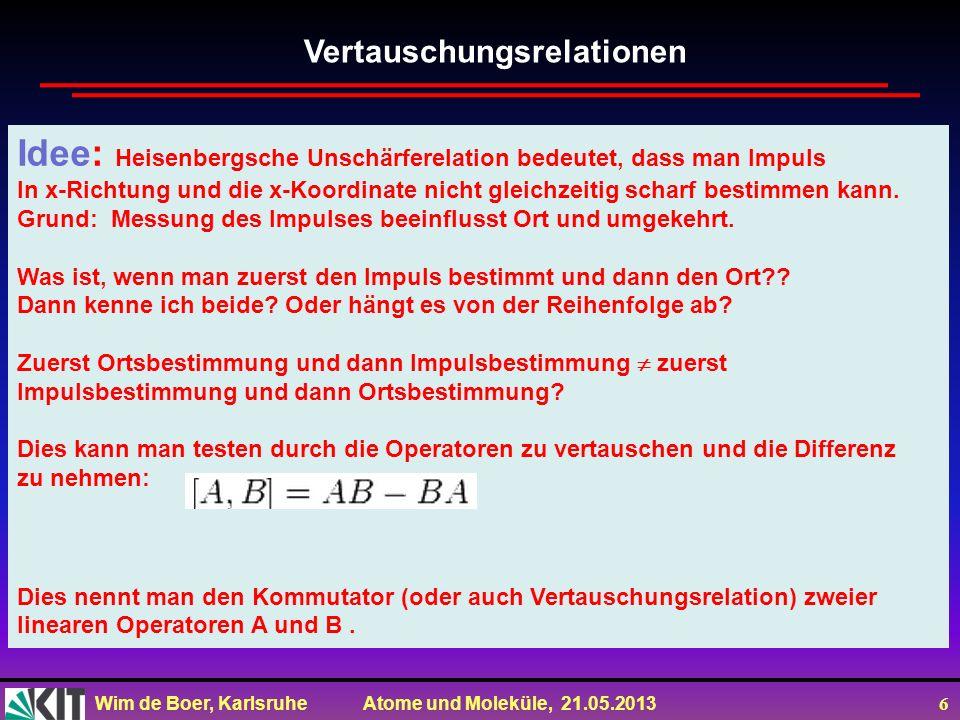Wim de Boer, Karlsruhe Atome und Moleküle, 21.05.2013 6 Idee: Heisenbergsche Unschärferelation bedeutet, dass man Impuls In x-Richtung und die x-Koord