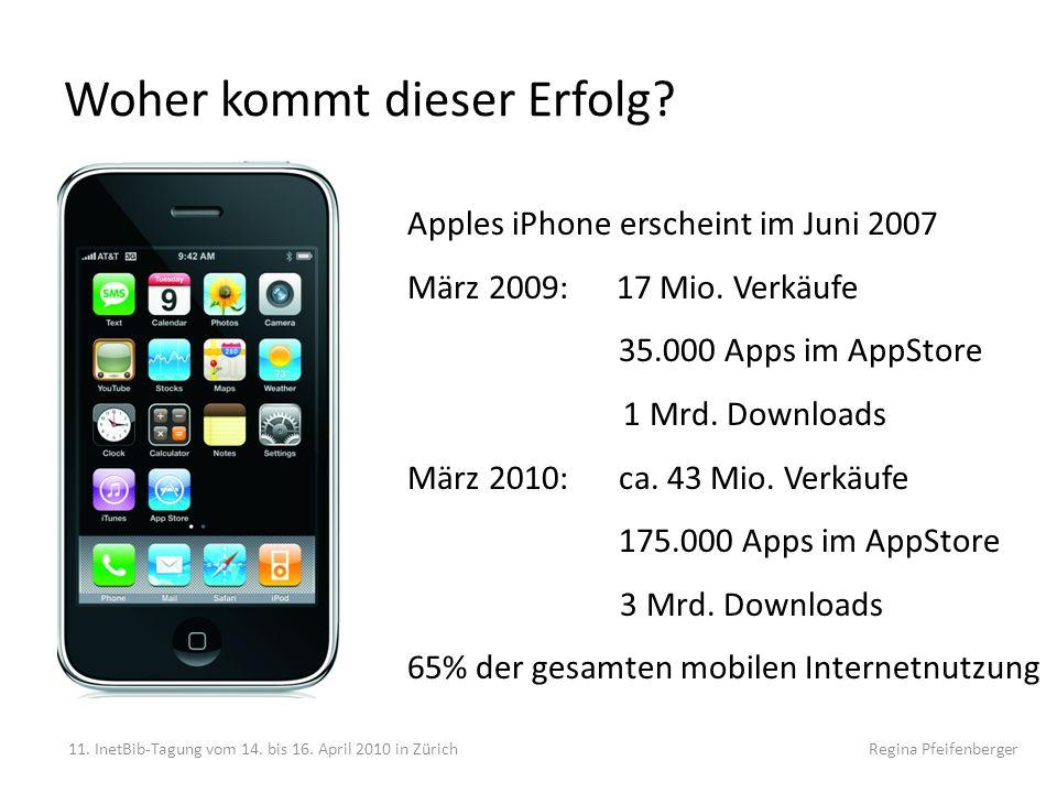 Woher kommt dieser Erfolg? 11. InetBib-Tagung vom 14. bis 16. April 2010 in Zürich Regina Pfeifenberger Apples iPhone erscheint im Juni 2007 März 2009
