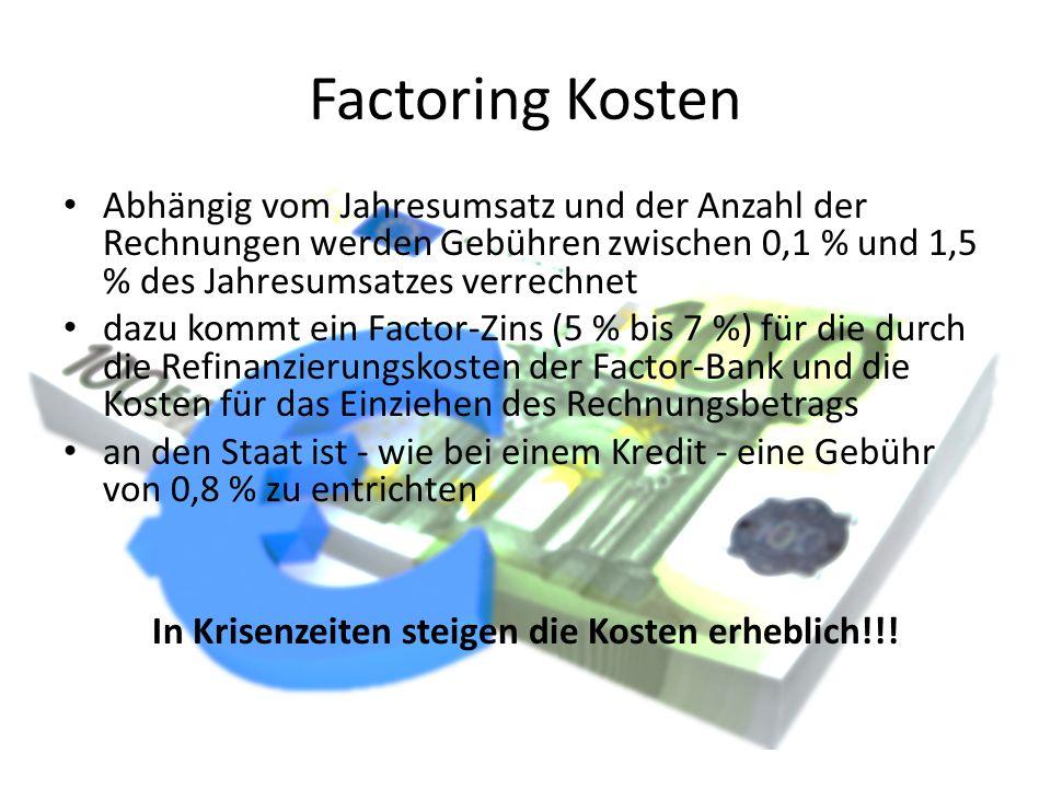 Factoring Kosten Abhängig vom Jahresumsatz und der Anzahl der Rechnungen werden Gebühren zwischen 0,1 % und 1,5 % des Jahresumsatzes verrechnet dazu k