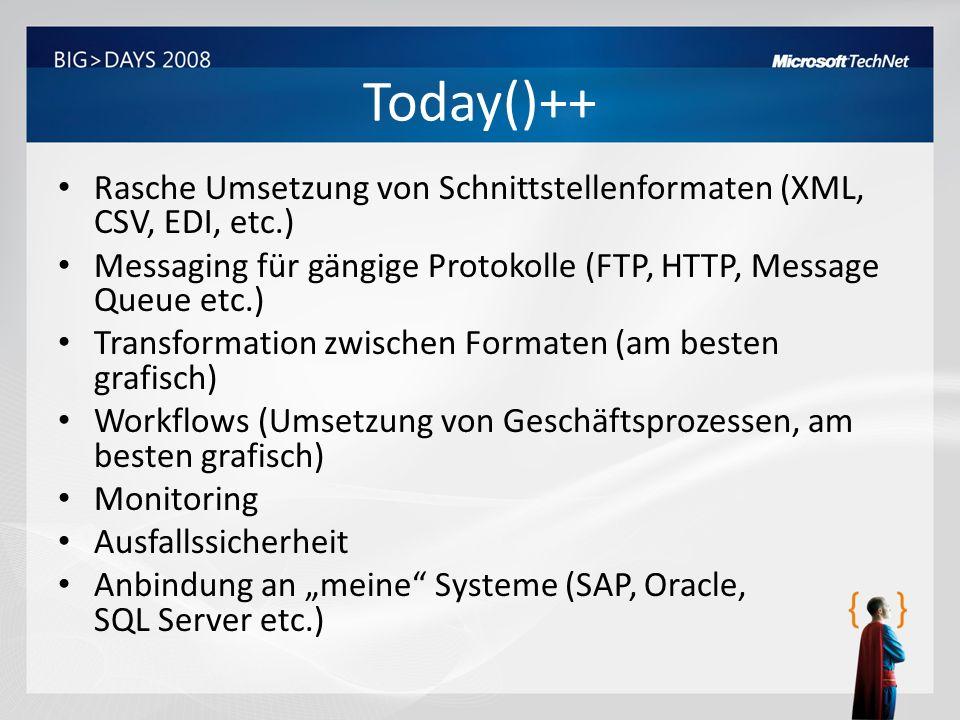 Today()++ Rasche Umsetzung von Schnittstellenformaten (XML, CSV, EDI, etc.) Messaging für gängige Protokolle (FTP, HTTP, Message Queue etc.) Transform