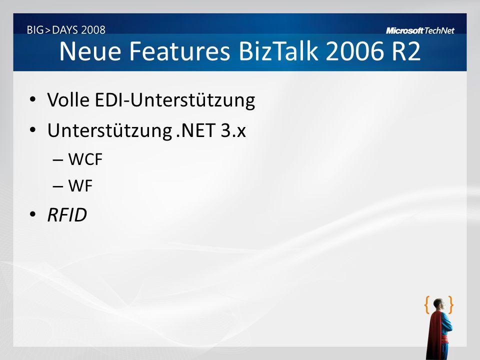 Neue Features BizTalk 2006 R2 Volle EDI-Unterstützung Unterstützung.NET 3.x – WCF – WF RFID