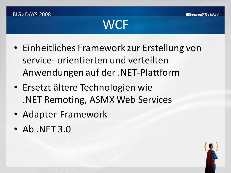 WCF Einheitliches Framework zur Erstellung von service- orientierten und verteilten Anwendungen auf der.NET-Plattform Ersetzt ältere Technologien wie.