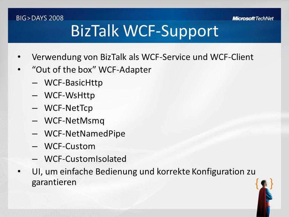 BizTalk WCF-Support Verwendung von BizTalk als WCF-Service und WCF-Client Out of the box WCF-Adapter – WCF-BasicHttp – WCF-WsHttp – WCF-NetTcp – WCF-N