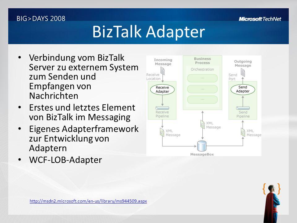 BizTalk Adapter Verbindung vom BizTalk Server zu externem System zum Senden und Empfangen von Nachrichten Erstes und letztes Element von BizTalk im Me