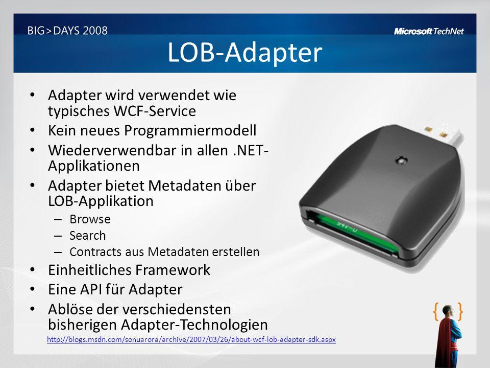LOB-Adapter Adapter wird verwendet wie typisches WCF-Service Kein neues Programmiermodell Wiederverwendbar in allen.NET- Applikationen Adapter bietet