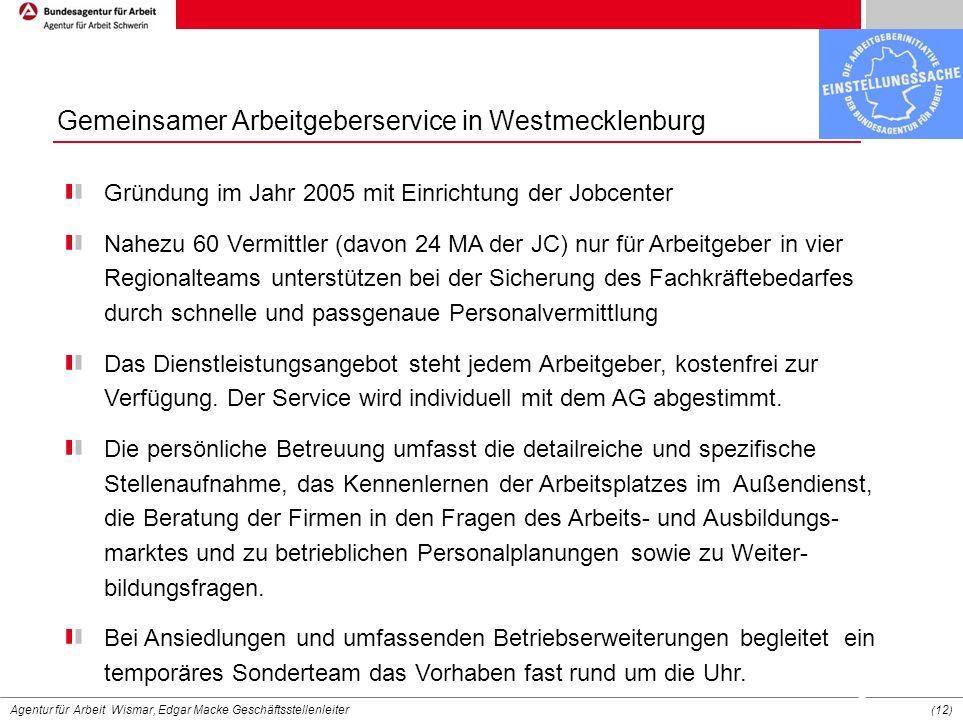 Agentur für Arbeit Wismar, Edgar Macke Geschäftsstellenleiter ( 12 ) Gemeinsamer Arbeitgeberservice in Westmecklenburg Gründung im Jahr 2005 mit Einri