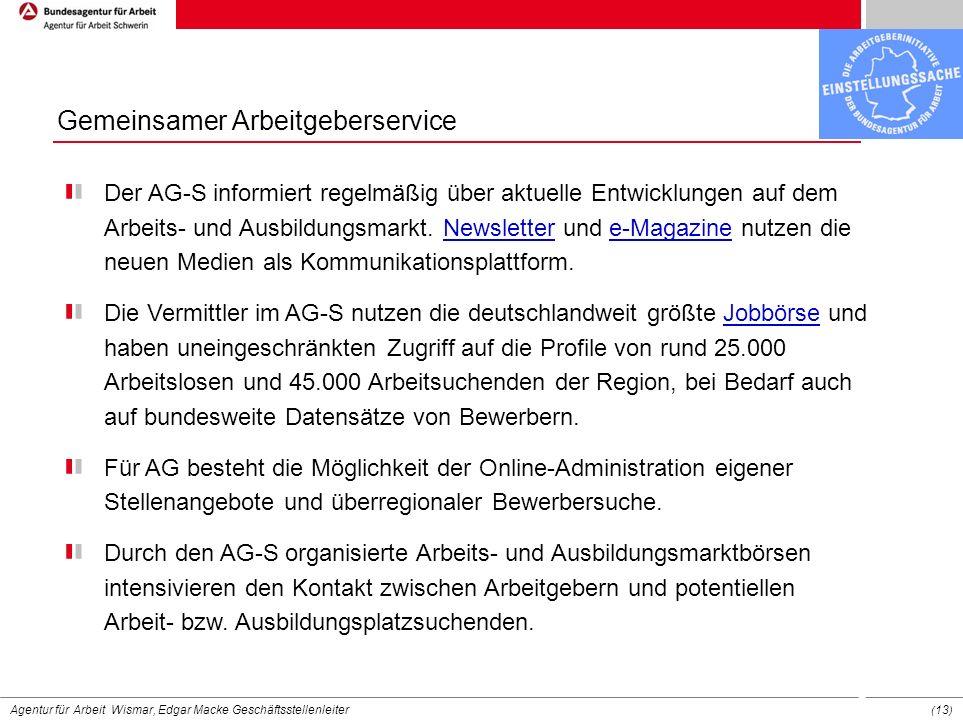 Agentur für Arbeit Wismar, Edgar Macke Geschäftsstellenleiter ( 13 ) Der AG-S informiert regelmäßig über aktuelle Entwicklungen auf dem Arbeits- und A