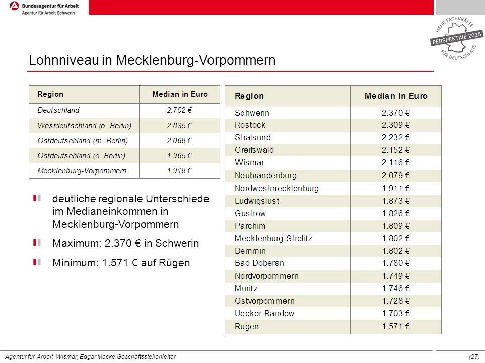 Agentur für Arbeit Wismar, Edgar Macke Geschäftsstellenleiter ( 27 ) Lohnniveau in Mecklenburg-Vorpommern deutliche regionale Unterschiede im Medianei