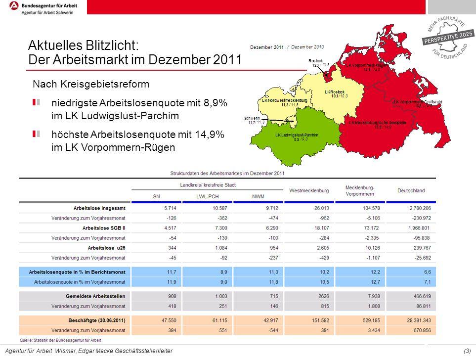 Agentur für Arbeit Wismar, Edgar Macke Geschäftsstellenleiter (3)(3) Nach Kreisgebietsreform niedrigste Arbeitslosenquote mit 8,9% im LK Ludwigslust-P