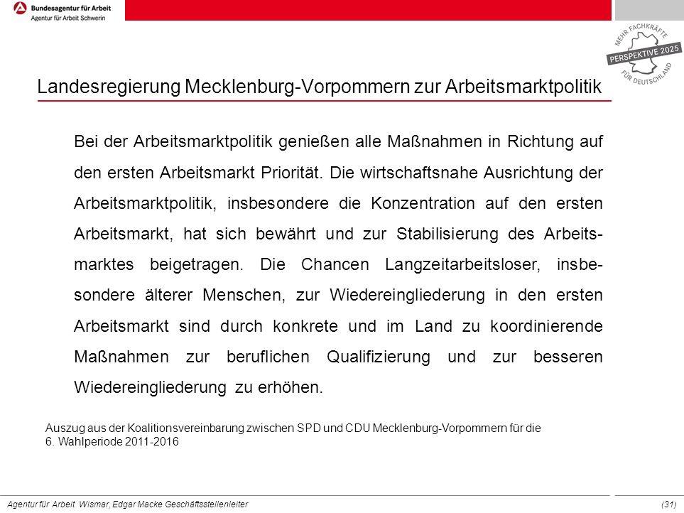 Agentur für Arbeit Wismar, Edgar Macke Geschäftsstellenleiter ( 31 ) Landesregierung Mecklenburg-Vorpommern zur Arbeitsmarktpolitik Bei der Arbeitsmar