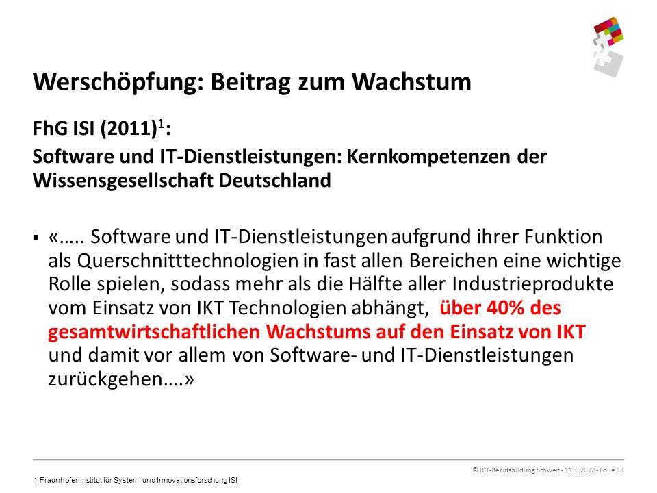 © ICT-Berufsbildung Schweiz - 11.6.2012 - Folie 13 Werschöpfung: Beitrag zum Wachstum FhG ISI (2011) 1 : Software und IT-Dienstleistungen: Kernkompetenzen der Wissensgesellschaft Deutschland «…..