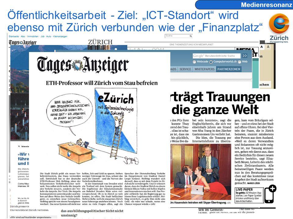 Andreas Kaelin © eZürich Programmleitung 4.6.2012 Seite 15 Öffentlichkeitsarbeit - Ziel: ICT-Standort wird ebenso mit Zürich verbunden wie der Finanzplatz Medienresonanz