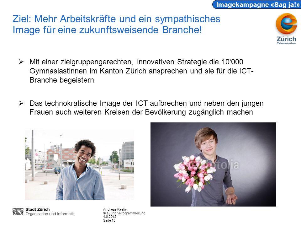 Andreas Kaelin © eZürich Programmleitung 4.6.2012 Seite 18 Ziel: Mehr Arbeitskräfte und ein sympathisches Image für eine zukunftsweisende Branche.