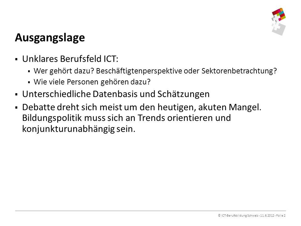 © ICT-Berufsbildung Schweiz - 11.6.2012 - Folie 2 Ausgangslage Unklares Berufsfeld ICT: Wer gehört dazu.