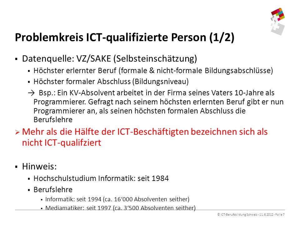 © ICT-Berufsbildung Schweiz - 11.6.2012 - Folie 7 Problemkreis ICT-qualifizierte Person (1/2) Datenquelle: VZ/SAKE (Selbsteinschätzung) Höchster erlernter Beruf (formale & nicht-formale Bildungsabschlüsse) Höchster formaler Abschluss (Bildungsniveau) Bsp.: Ein KV-Absolvent arbeitet in der Firma seines Vaters 10-Jahre als Programmierer.