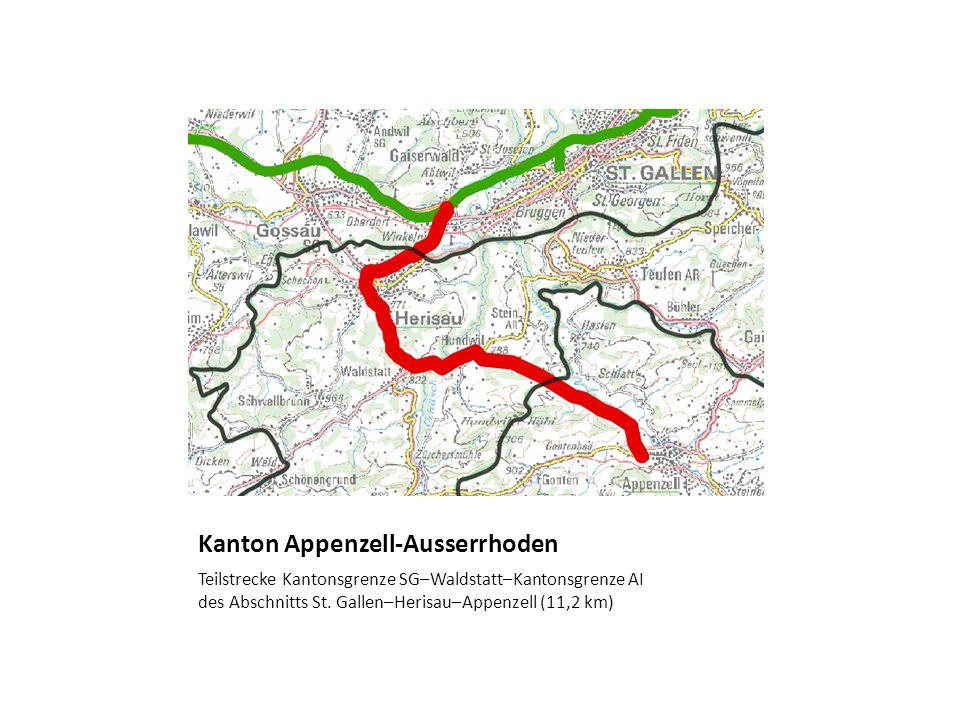 Kanton Appenzell-Ausserrhoden Teilstrecke Kantonsgrenze SG–Waldstatt–Kantonsgrenze AI des Abschnitts St. Gallen–Herisau–Appenzell (11,2 km)