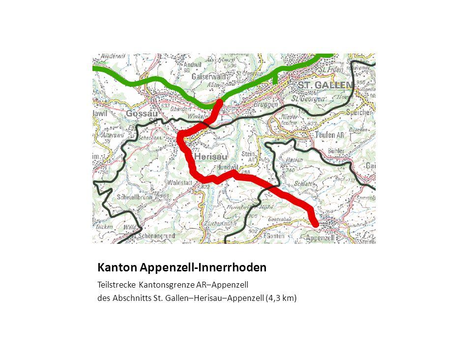 Kanton Appenzell-Innerrhoden Teilstrecke Kantonsgrenze AR–Appenzell des Abschnitts St. Gallen–Herisau–Appenzell (4,3 km)