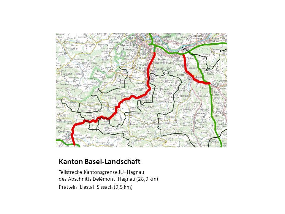 Kanton Basel-Landschaft Teilstrecke Kantonsgrenze JU–Hagnau des Abschnitts Delémont–Hagnau (28,9 km) Pratteln–Liestal–Sissach (9,5 km)