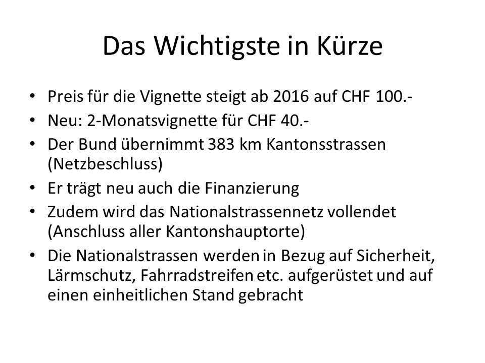 Das Wichtigste in Kürze Preis für die Vignette steigt ab 2016 auf CHF 100.- Neu: 2-Monatsvignette für CHF 40.- Der Bund übernimmt 383 km Kantonsstrass