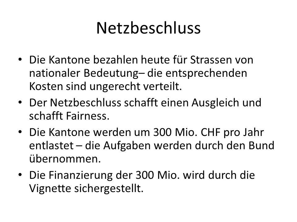 Netzbeschluss Die Kantone bezahlen heute für Strassen von nationaler Bedeutung– die entsprechenden Kosten sind ungerecht verteilt. Der Netzbeschluss s