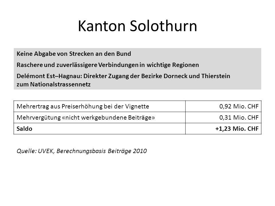 Kanton Solothurn Keine Abgabe von Strecken an den Bund Raschere und zuverlässigere Verbindungen in wichtige Regionen Delémont Est–Hagnau: Direkter Zug