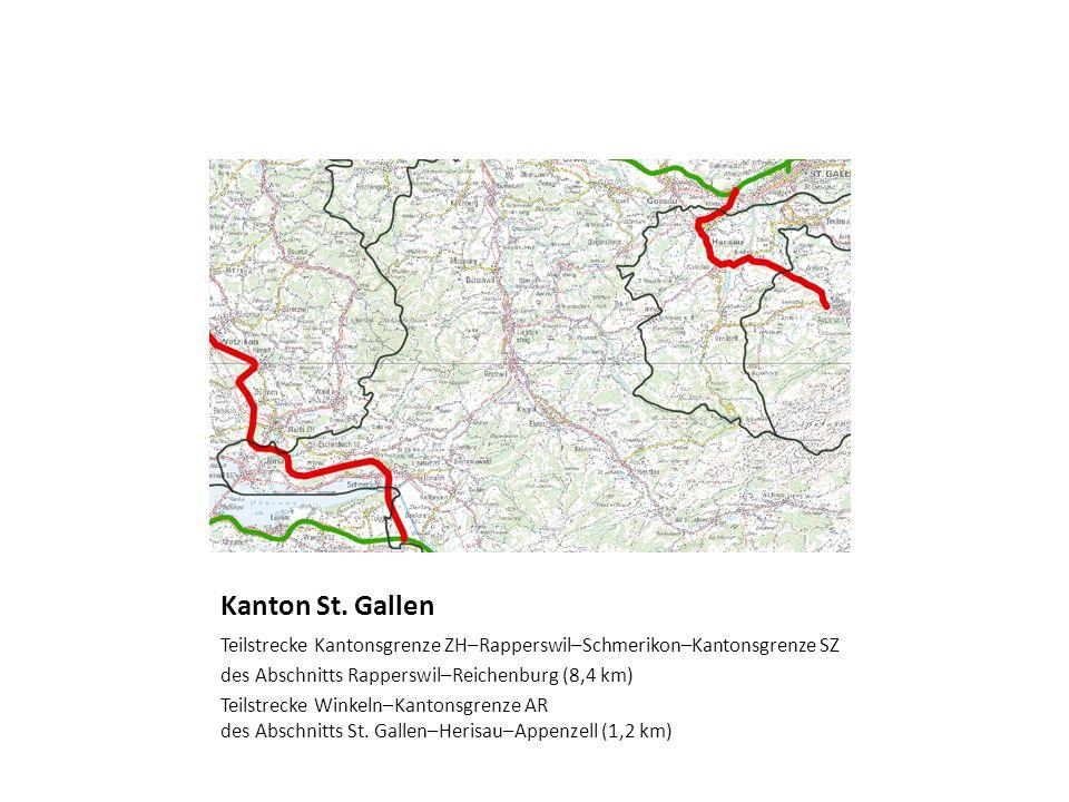 Kanton St. Gallen Teilstrecke Kantonsgrenze ZH–Rapperswil–Schmerikon–Kantonsgrenze SZ des Abschnitts Rapperswil–Reichenburg (8,4 km) Teilstrecke Winke