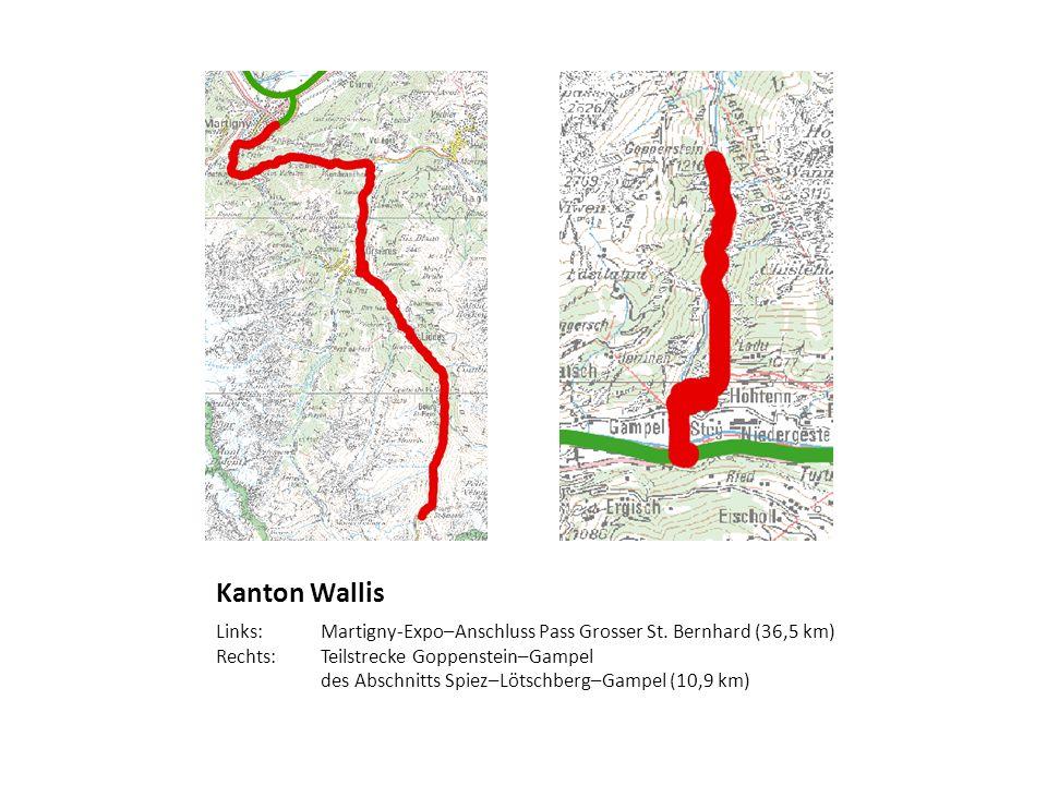 Kanton Wallis Links: Martigny-Expo–Anschluss Pass Grosser St. Bernhard (36,5 km) Rechts:Teilstrecke Goppenstein–Gampel des Abschnitts Spiez–Lötschberg