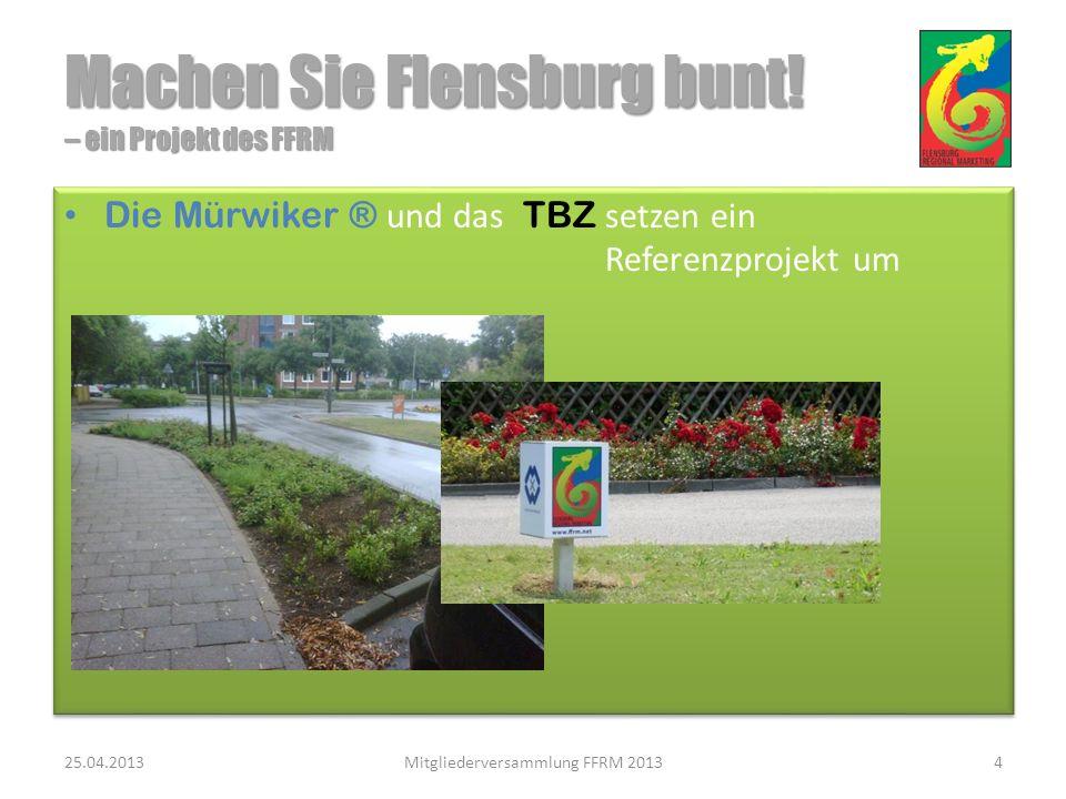 Alle haben etwas davon: die Stadt Flensburg ein attraktiveres Aussehen die FFRM-Mitglieder kommunizieren ihr bürgerschaftliches Engagement es werden je nach erfolgsabhängigem Umfang des Projektes Arbeitsplätze geschaffen und Transferleistungen eingespart Alle haben etwas davon: die Stadt Flensburg ein attraktiveres Aussehen die FFRM-Mitglieder kommunizieren ihr bürgerschaftliches Engagement es werden je nach erfolgsabhängigem Umfang des Projektes Arbeitsplätze geschaffen und Transferleistungen eingespart 25.04.2013Mitgliederversammlung FFRM 201315 Machen Sie Flensburg bunt.