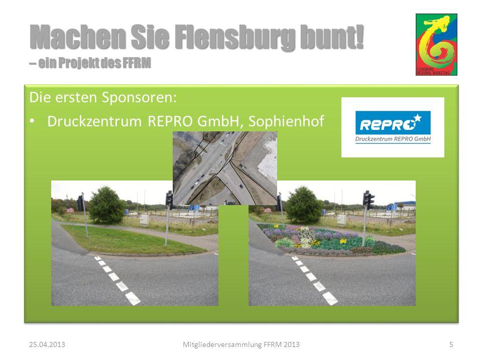 Vielen Dank für Ihre Aufmerksamkeit Vielen Dank für Ihre Aufmerksamkeit 25.04.2013Mitgliederversammlung FFRM 201316 Machen Sie Flensburg bunt.