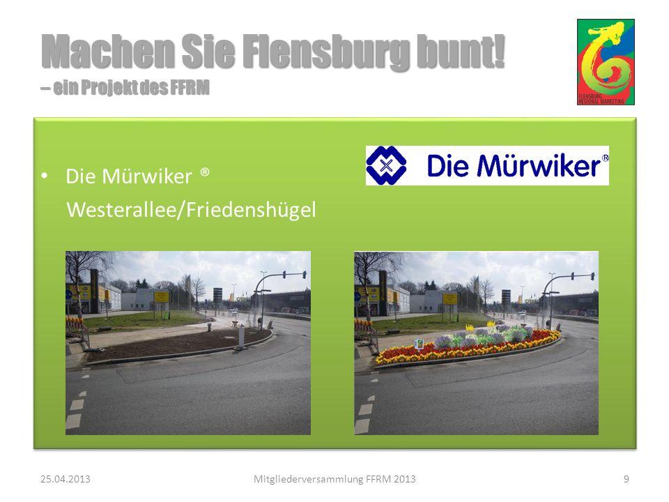 Eine weiteres Projekt in Verhandlung 25.04.2013Mitgliederversammlung FFRM 201310 Machen Sie Flensburg bunt.